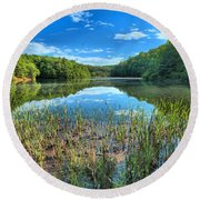 Long Branch Marsh Round Beach Towel by Adam Jewell