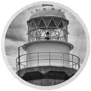 Long Point Lighthouse - Black And White Round Beach Towel