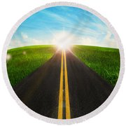 Long Road In Beautiful Nature  Round Beach Towel