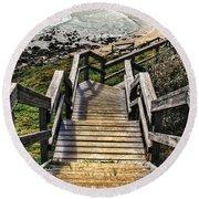 Long Stairway To Beach 2 Round Beach Towel