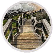 Long Stairway To Beach Round Beach Towel