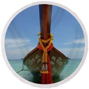 Long Tail Boat Thailand Round Beach Towel