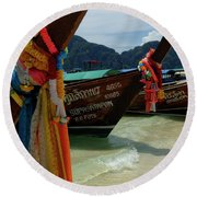 Long Tail Boats Round Beach Towel
