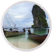Long Tail Boats Thailand Round Beach Towel