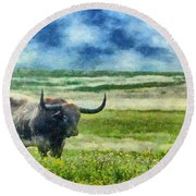 Longhorn Prarie Round Beach Towel by Jeff Kolker