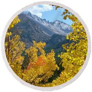Long's Peak And The Keyboard Of The Winds Amidst Aspen Gold Round Beach Towel by Margaret Bobb