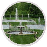 Longwood Fountains 3 Round Beach Towel