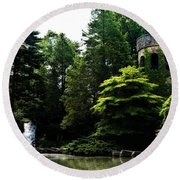 Longwood Garden Castle Round Beach Towel