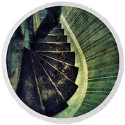 Looking Down An Old Staircase Round Beach Towel