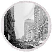 Looking Down State Street - Chicago - C  1897 Round Beach Towel