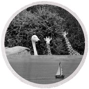 Lookouts Bw Round Beach Towel