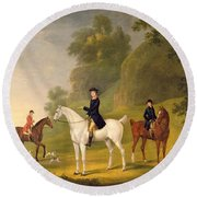 Lord Bulkeley And His Harriers Round Beach Towel