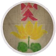 Lord Ganesh Rangoli Round Beach Towel