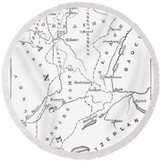 Lorraine And Alsace: Map Round Beach Towel