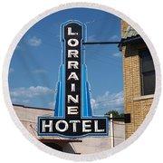 Lorraine Hotel Sign Round Beach Towel