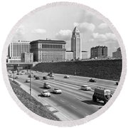 Los Angeles In The 1950s Round Beach Towel