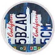 Los Angeles Skyline License Plate Art Round Beach Towel