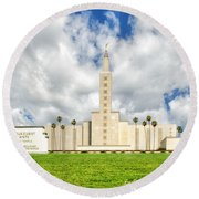 Los Angeles Temple Front Round Beach Towel