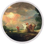 Lot Fleeing From Sodom Round Beach Towel