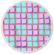 Lots Of Squares Round Beach Towel