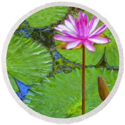 Lotus Blossom And Water Lily Pads Round Beach Towel