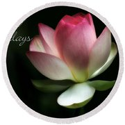 Lotus Flower Holiday Card Round Beach Towel