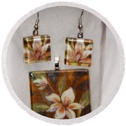 Lotus Flower Pendant And Earring Set Round Beach Towel