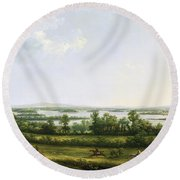 Lough Erne From Knock Ninney - With Bellisle In The Distance Round Beach Towel