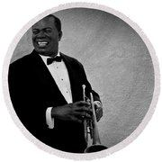 Louis Armstrong Bw Round Beach Towel