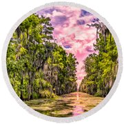 Louisiana Bayou Sunrise Round Beach Towel