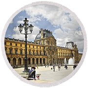 Louvre Museum Round Beach Towel by Elena Elisseeva