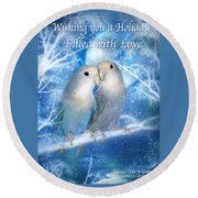 Love At Christmas Card Round Beach Towel