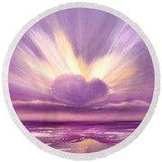 Love At Sunset Round Beach Towel