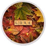 Love-autumn Round Beach Towel