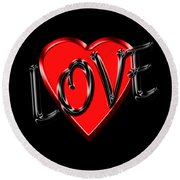 Love Black And Red 1 Round Beach Towel