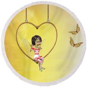 Love Fairy Round Beach Towel