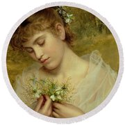Love In A Mist Round Beach Towel by Sophie Anderson