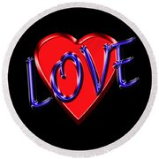 Love In Blue And Red Round Beach Towel