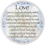 Love Poem In Blue Round Beach Towel