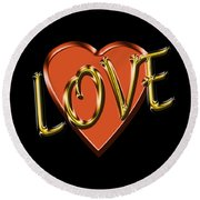 Love In Gold And Copper Round Beach Towel
