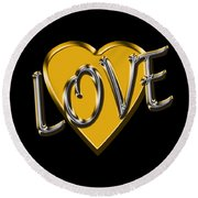 Love In Gold And Silver Round Beach Towel