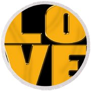 Love In Gold Round Beach Towel