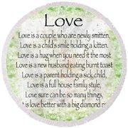 Love Poem In Green Round Beach Towel
