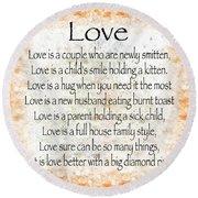 Love Poem In Orange Round Beach Towel