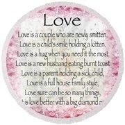 Love Poem In Pink Round Beach Towel