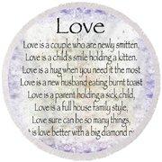 Love Poem In Purple  Round Beach Towel