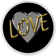 Love In Silver And Gold  Round Beach Towel