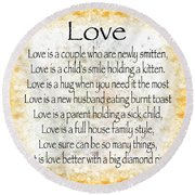 Love Poem In Yellow Round Beach Towel