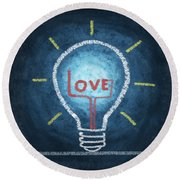 Love Word In Light Bulb Round Beach Towel