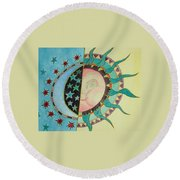 Love You Day And Night Round Beach Towel